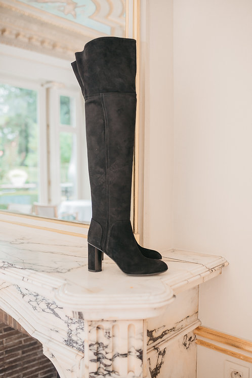 Over the knee boots - black suede