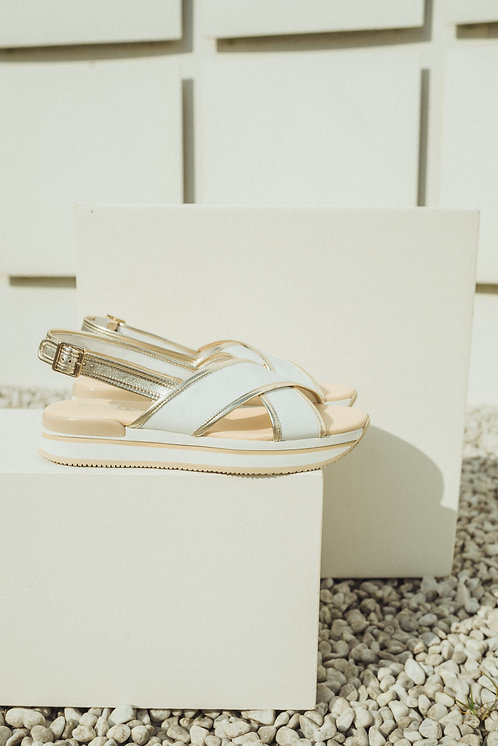 H222 sandals white/gold
