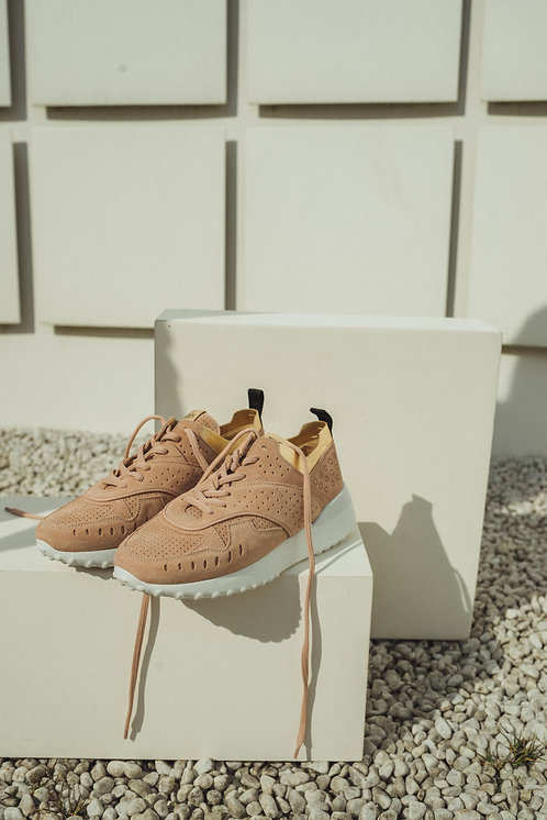 Sneakers suede pink/gold