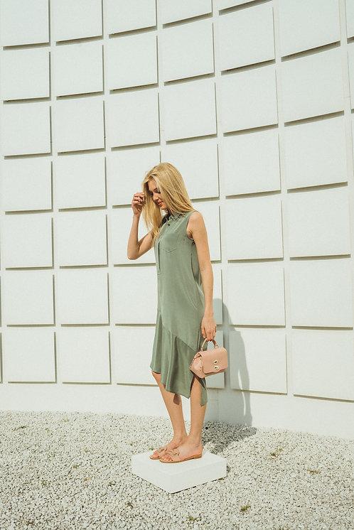 Silk khaki midi dress