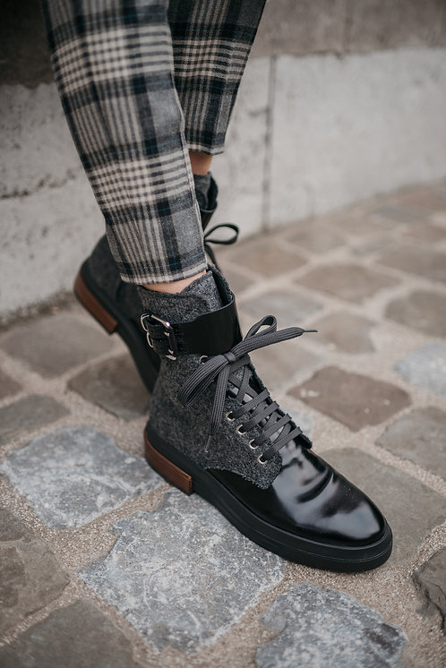 Tod's biker boots - black/grey