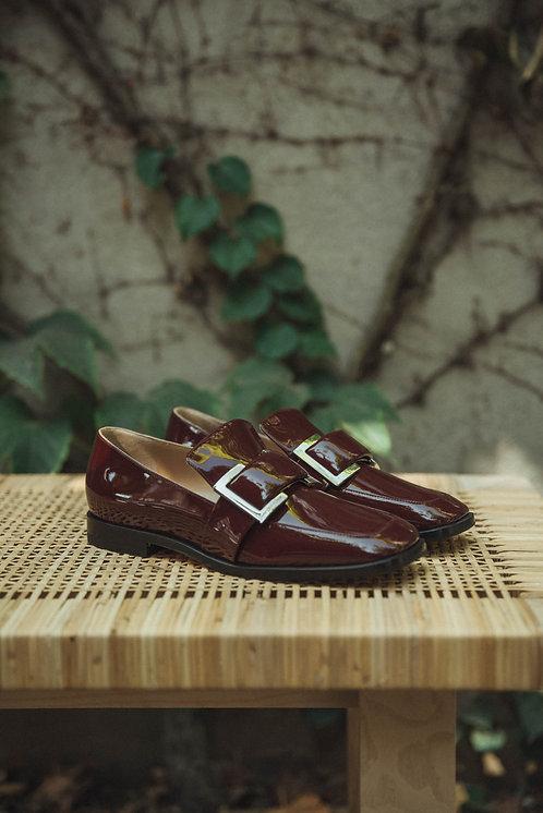 Sergio Rossi loafer lacquer bordeaux