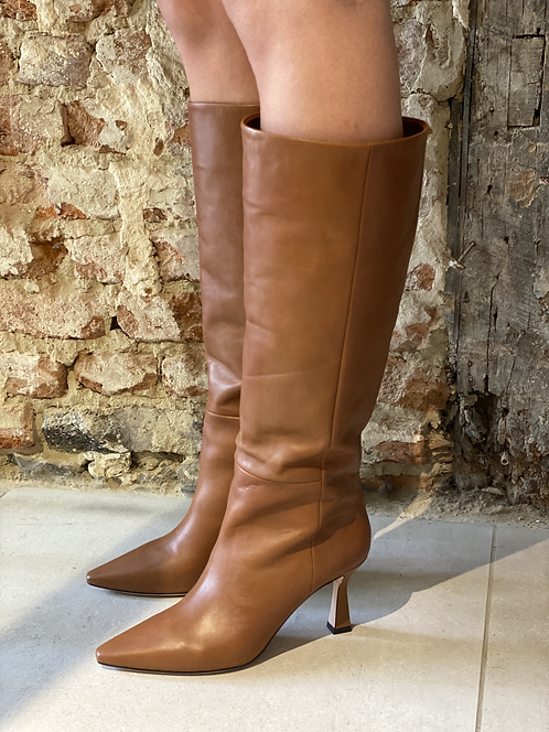 Lola Cruz cognac knee high boots