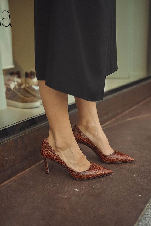 Prada heels croco brown