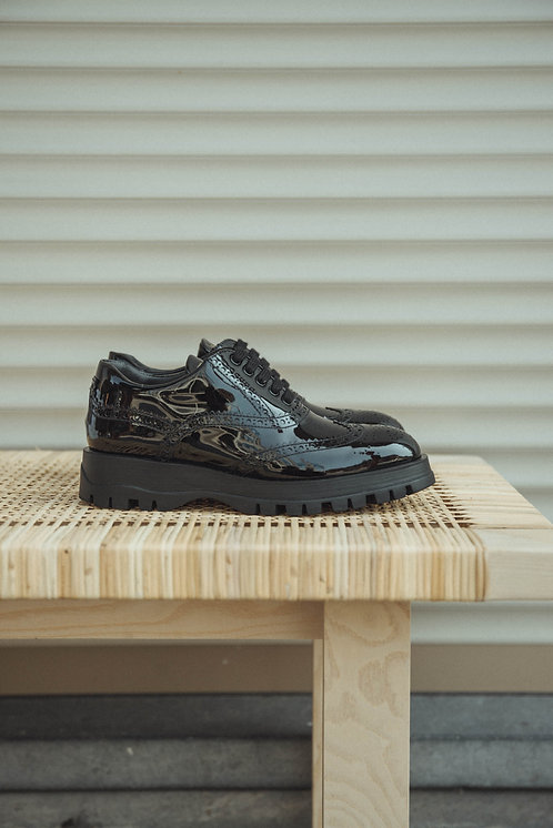Prada lace-up lacquer black
