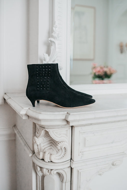 Tod's ankle boots kitten heels - black suede