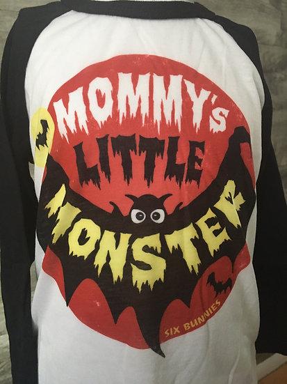 Six Bunnies Mommy's Little Monster Raglan (unisex)