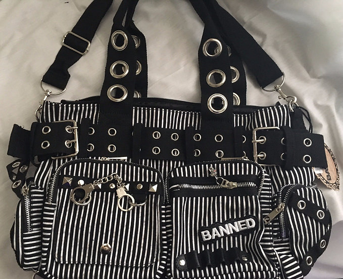Striped Handcuff Bag by Banned Apparel