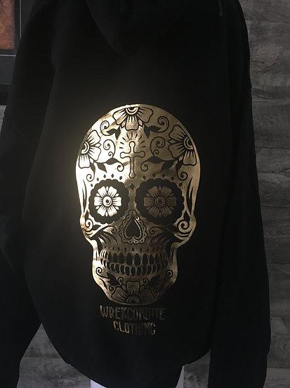 Gold Foil Sugar Skull Hoodie