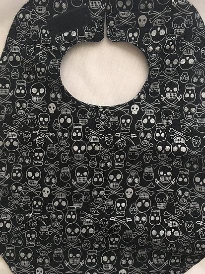 Silver Skulls Fleece Backed Bib by Caroline