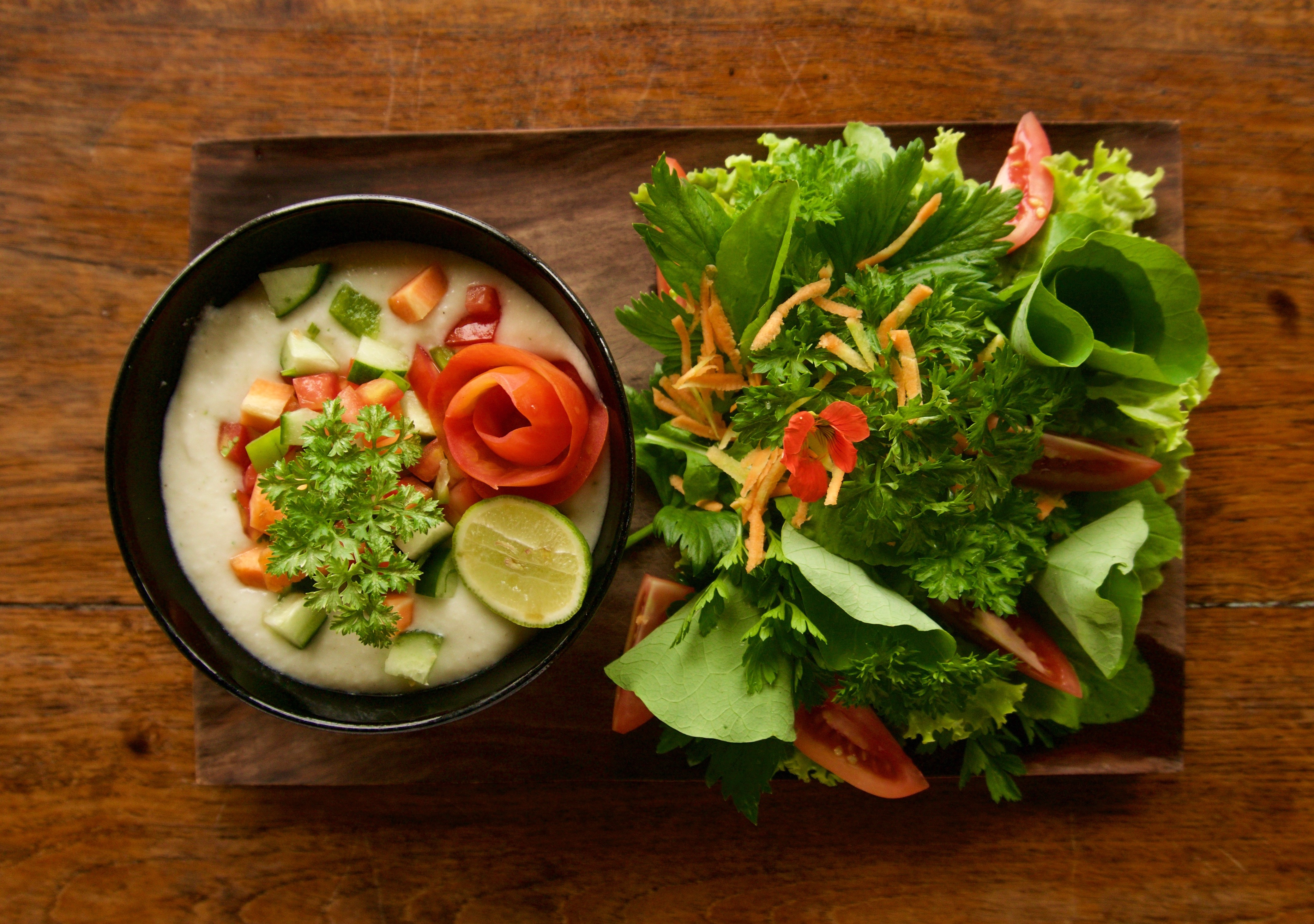 Raw Coconut Soup & Organic Garden Salad