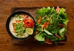 Raw Coconut Soup & Organic Garden Salad