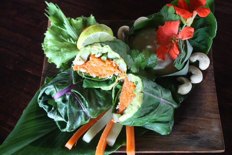 Raw veggie wrap with cashew butter