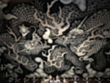 The Twin Dragons on the ceiling of Kennin-ji Temple in Kyoto