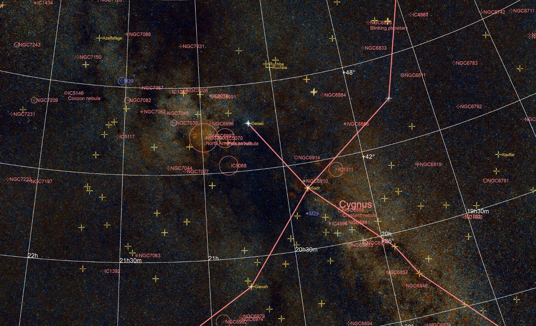Constellation du cygne annotée