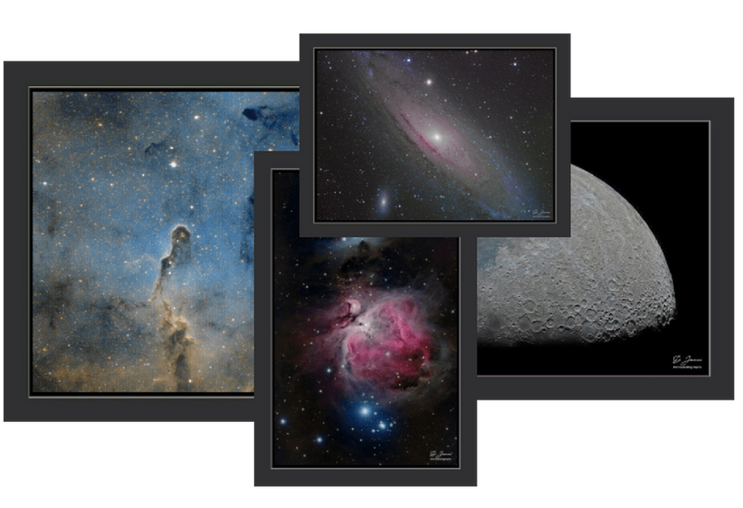 Astronomy posters and wall art. Andromeda galaxy, orion´s nebula, the elephant trunk nebula and the moon in high resolution art print. Space wall art.
