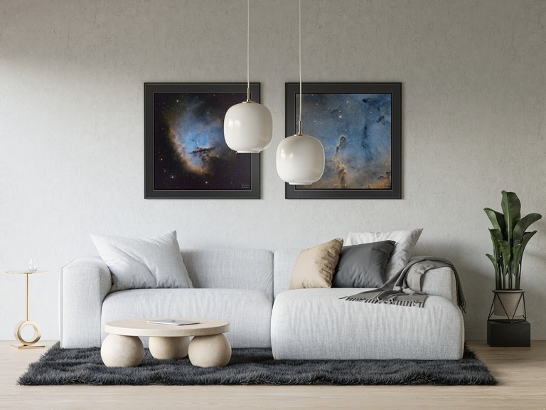 Pacman and elephant trunk nebula framed prints