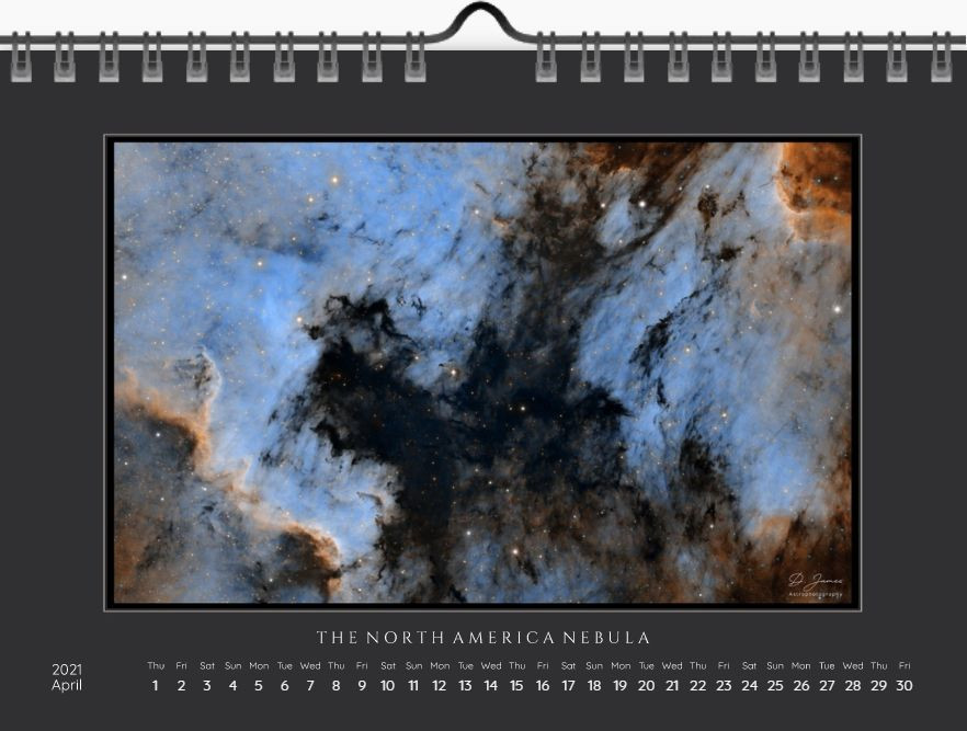 april calendar A5, north america nebula