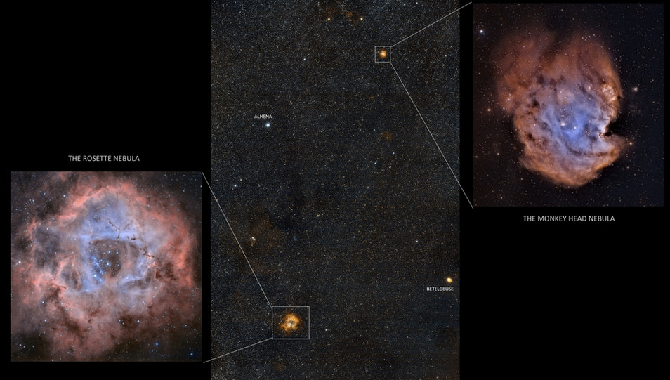 Rosette and monkey head nebula widefield and detailed
