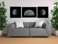 3 moon posters living room