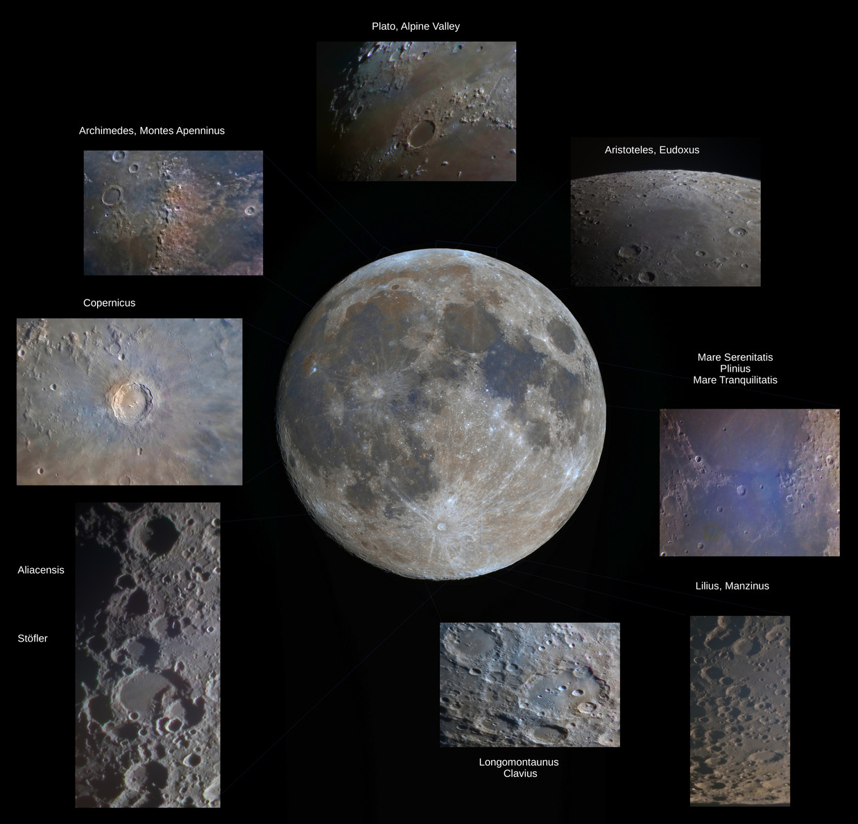 moon close up images: copernicus, aristoteles, Eudoxus, plato, clavius, alpine valley