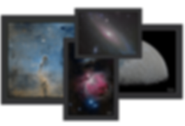 astronomy posters. Andromeda galaxy, orion´s nebula, the elephant trunk nebula and the moon in high resolution art print