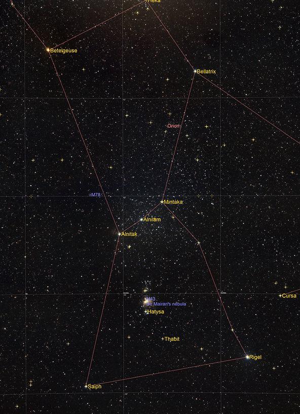 Kommentiertes Bild der Orion-Konstellation