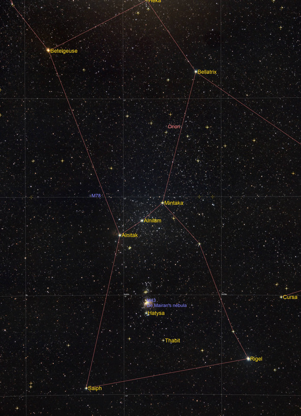 Annotated image of Orion Constellation