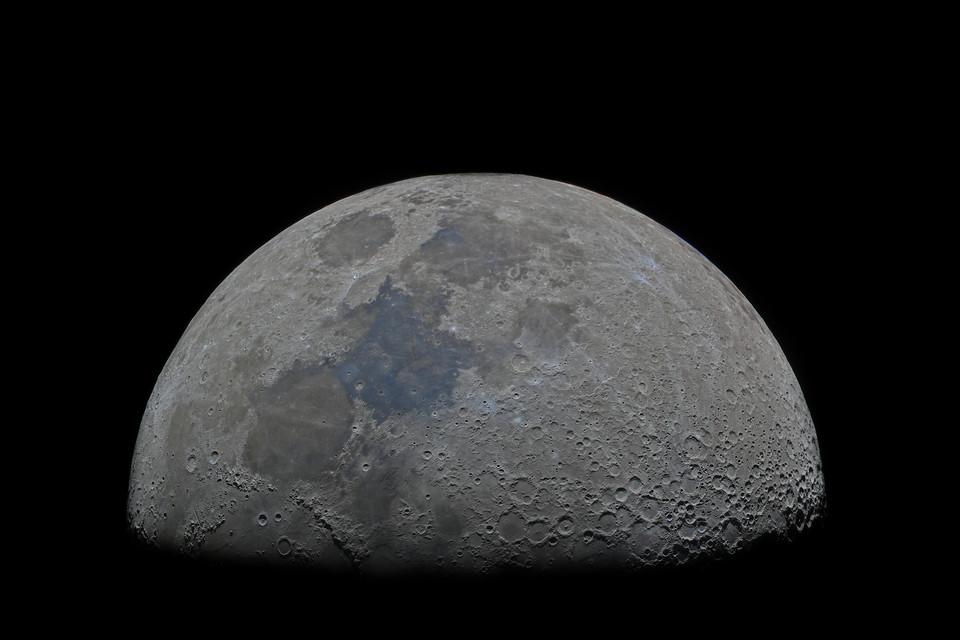 Half moon image, first quarter in high resolution: 1 pixel 1 kilometer. Wall Art moon poster.
