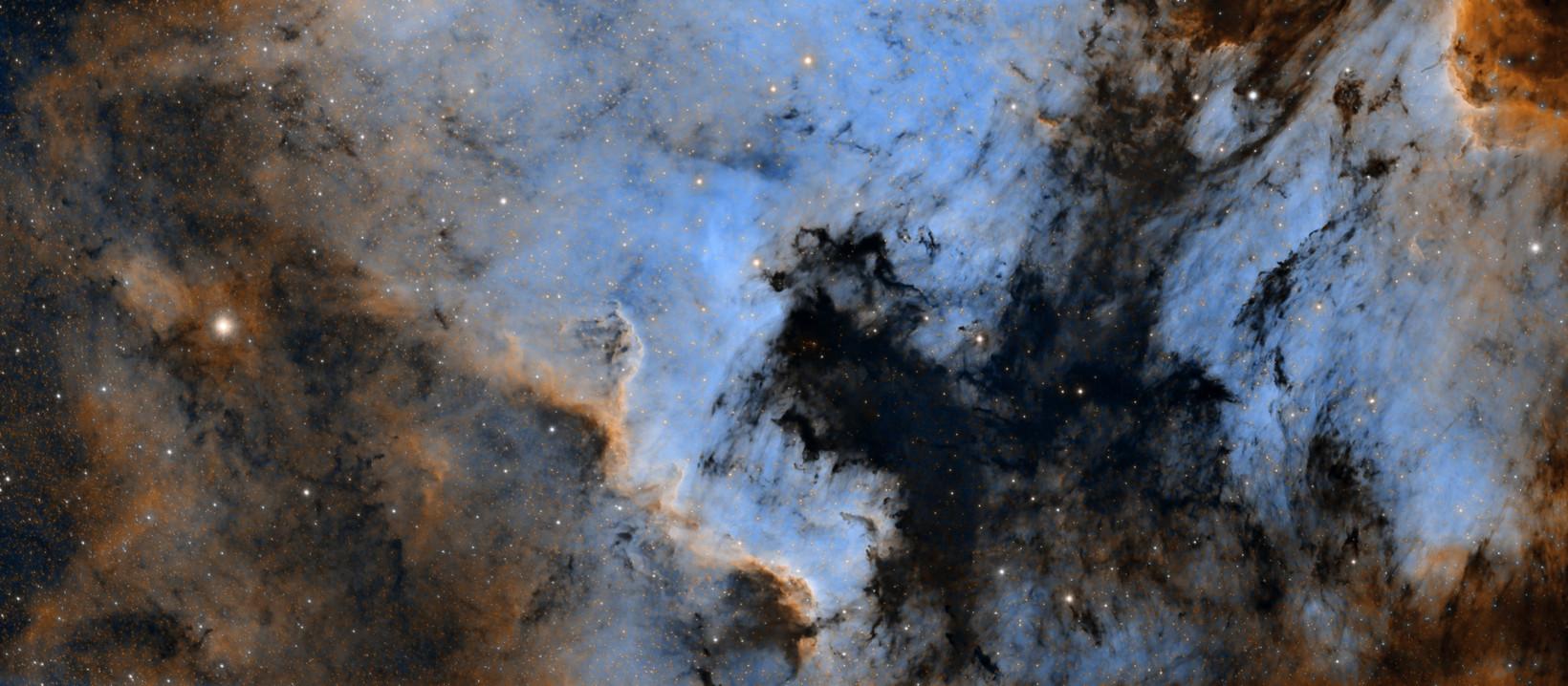 La nébuleuse nord-américaine NGC 7000 en bande étroite et haute résolution. Affiche disponible à l'achat.