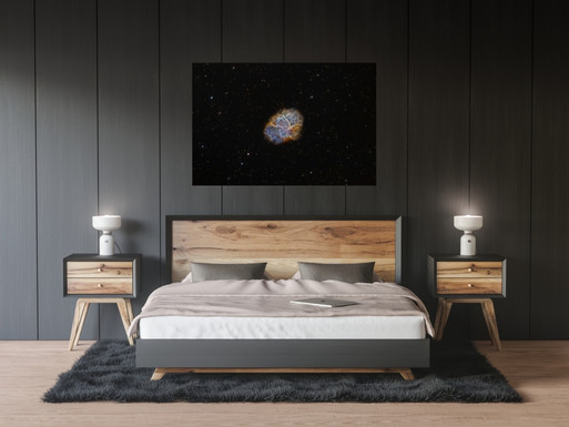 Large crab nebula poster in sleeping room. Wall art print.
