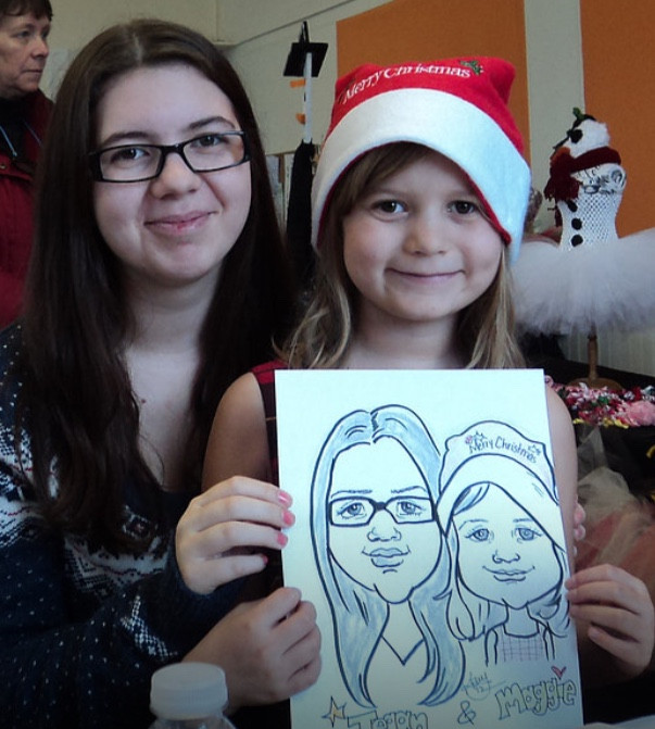 Caricature drawings at a Christmas party