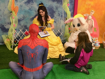 Easter Bunny , Belle and Spiderman.jpg