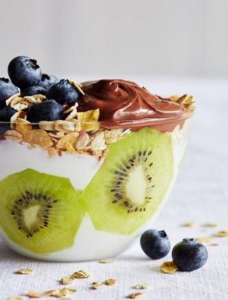 Yogurt, fruit and Nutella