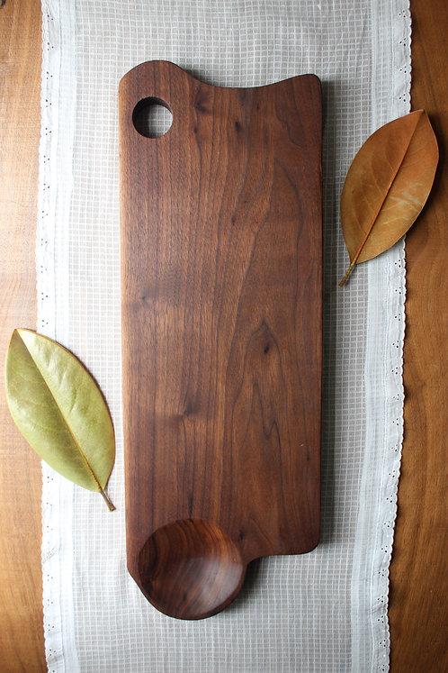 Black Walnut Serving Board w/ Hand-carved Bowl