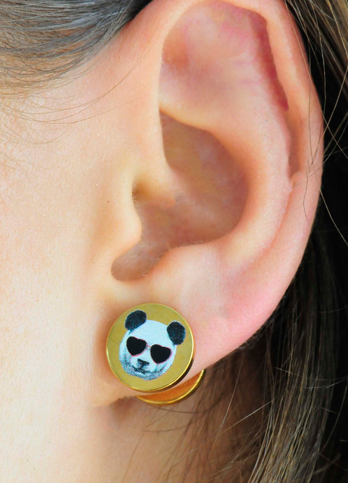 Come In Diffe Colors With Cool Printed Patterns Thick Stainless Steel Discs A Print On Top These Studs Are Made To Look Like Plugs Or Gauges