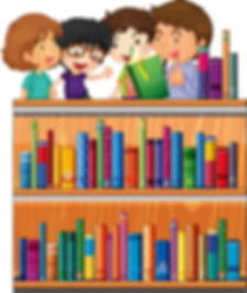 children-reading-books-in-library-vector