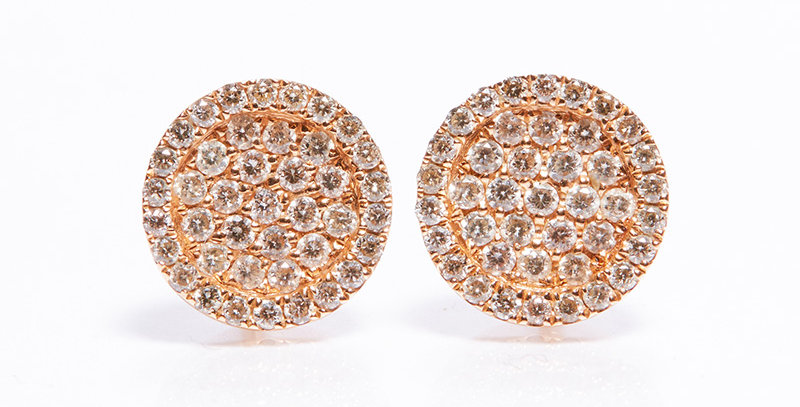 Roundie Earrings (Rose Gold & Champagne Diamond)