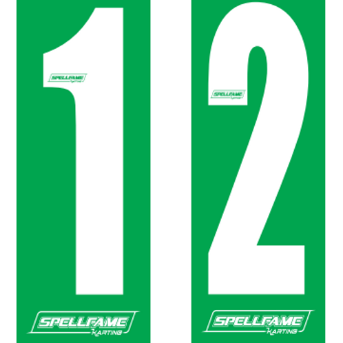 Small Style Number Stickers White On Green x 4