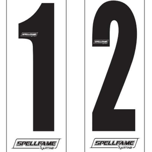 Small Style Number Stickers Black On White x 4