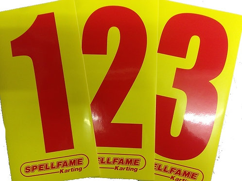 Red Numbers on Yellow Background