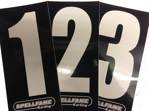 White Numbers on Black Background Pack of 4