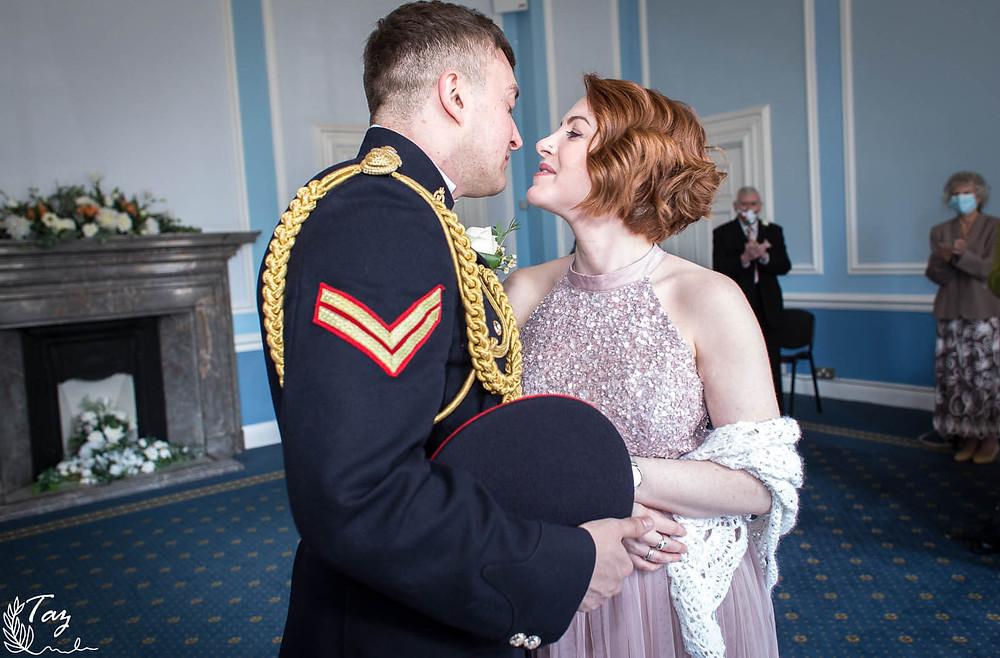 Rhian & Shaun's wedding photo at Cardiff City Hall, 2021 wedding photography by 'Weddings by Taz', South Wales