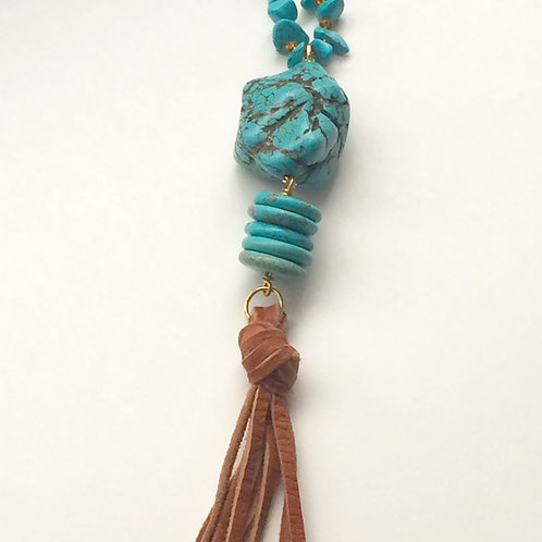 Turquoise Chunk Necklace with Leather Tassel