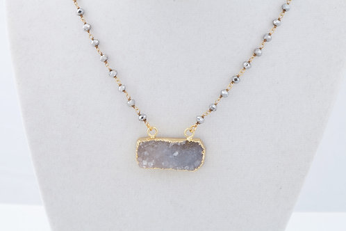 Druzy bar & Pyrite Rosary in gold