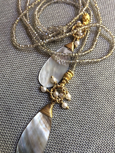 Mother of Pearl + Sparkling Grey Lariat