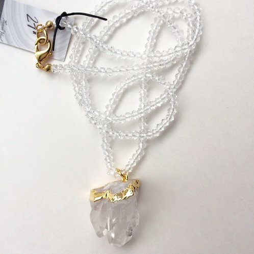 Clear Quartz with Clear Beaded Strand