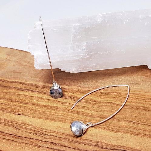 White Sapphire Long Wire Earrings