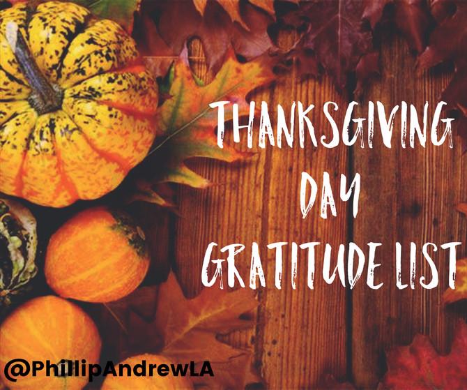Thanksgiving Day Gratitude List