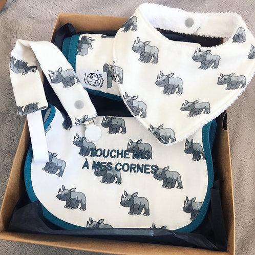 Coffret Cadeau Victor le rhinocéros (attache tétine)